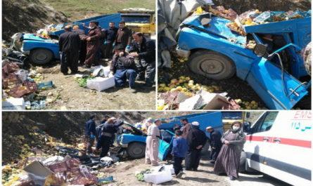 واژگونی خودروی سایپا باری در محور مهاباد -سردشت