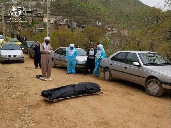 """خواندن """" نماز میت"""" بر پیکر فوت شده کرونایی در استان کرمانشاه"""
