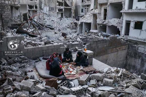 افطاری در میان ویرانه های باقی مانده از جنگ داخلی در سوریه