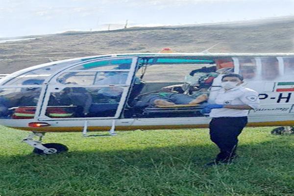 """پرواز """"بالگرد اورژانس ۱۱۵"""" برای نجات جان جوان پیرانشهری"""