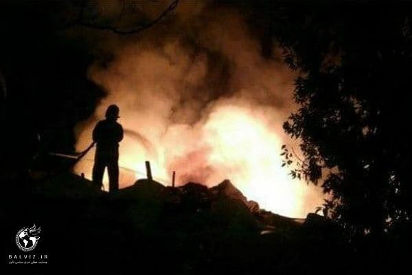 آتش سوزی بزرگ کارخانه بازیافت نایلون شهرک صنعتی مهاباد مهارشد
