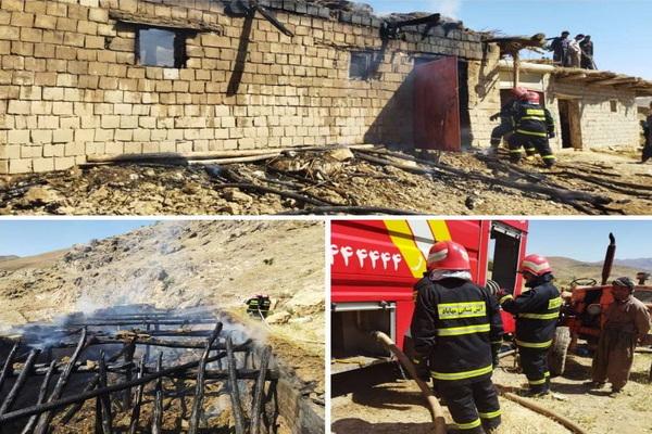 تلف شدن 17 راس گوسفند در اثر آتش سوزی در مهاباد